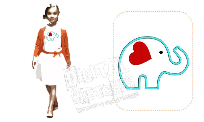 Elephant Applique Design Machine Embroidery Design 5 Sizes