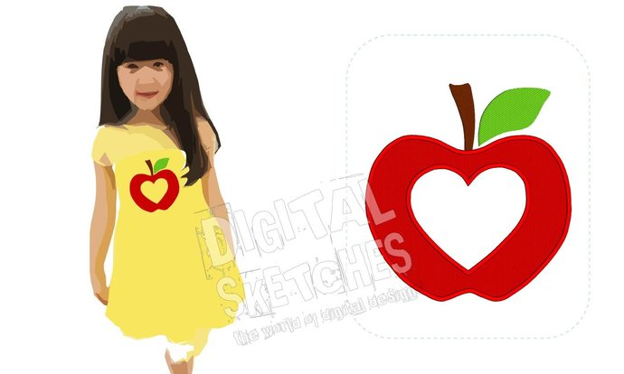 Apple Heart Machine Embroidery Design 4 Sizes
