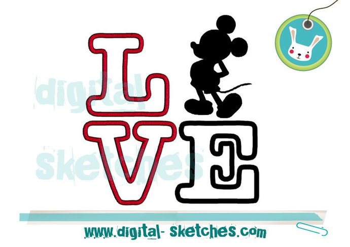 Mickey Mouse Style Love Machine Embroidery Design 4 Sizes