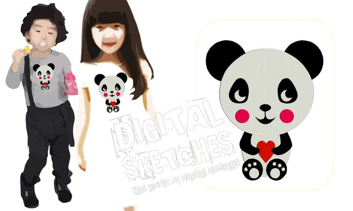 Panda Bear Animals Machine Embroidery Design 4 Sizes