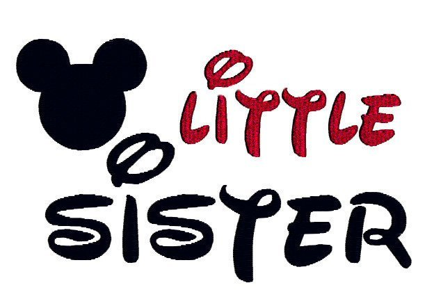 Little Sister Saying Silhouette Mickey Minnie Mouse Style Machine Embroidery
