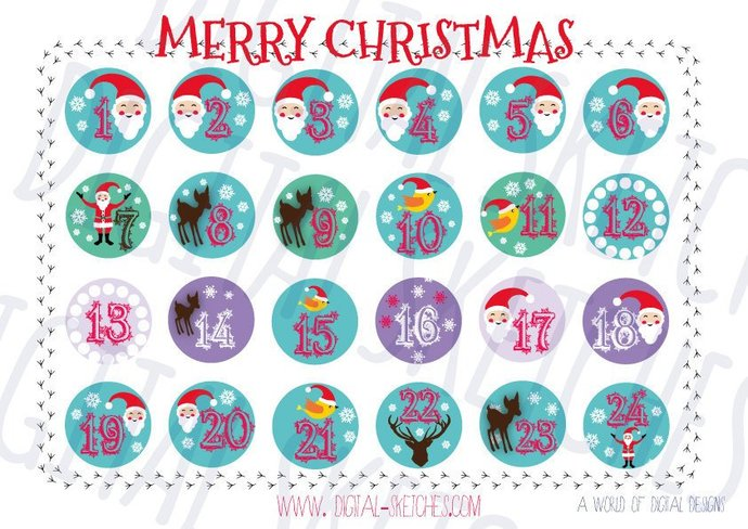 image regarding Advent Calendar Printable referred to as Introduction Calendar Figures .PDF Printable Do it yourself Family vacation Santa Claus Merry Xmas PDF Fast Obtain