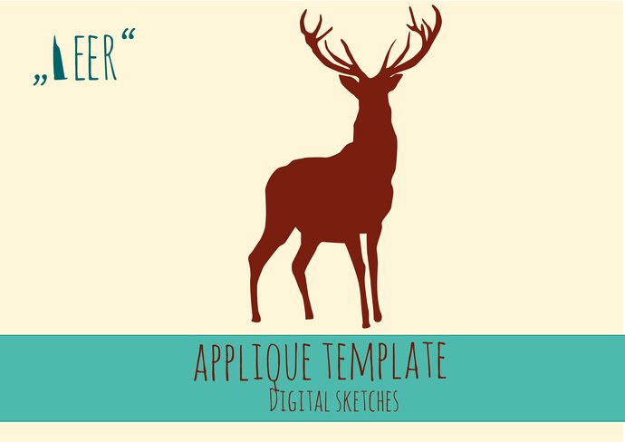 Deer Applique Template  PDF Animals Fabric Applique Template DIY Tutorial  Quilt Pattern Handmade Scrapbook Card Template