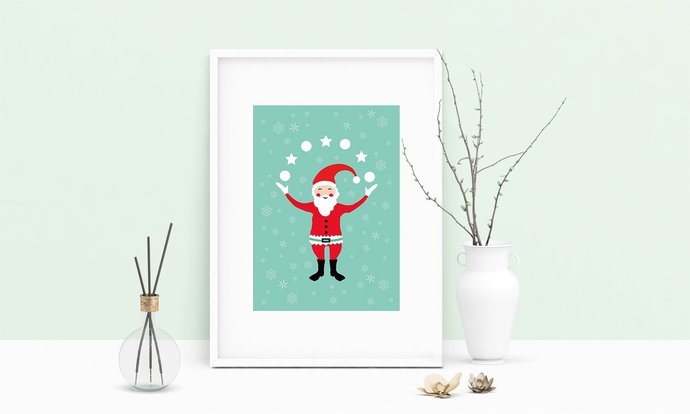 Printable Art Santa Claus Christmas Wall Art, .PDF, Typography, Home Decor,