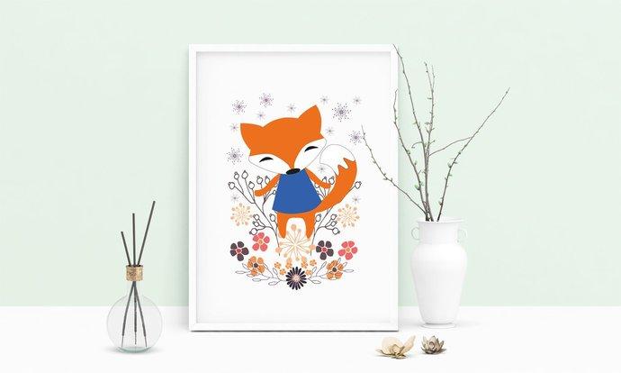 Fox Printable Art, Wall Art, .PDF, Typography, Home Decor, Print Art, Poster,