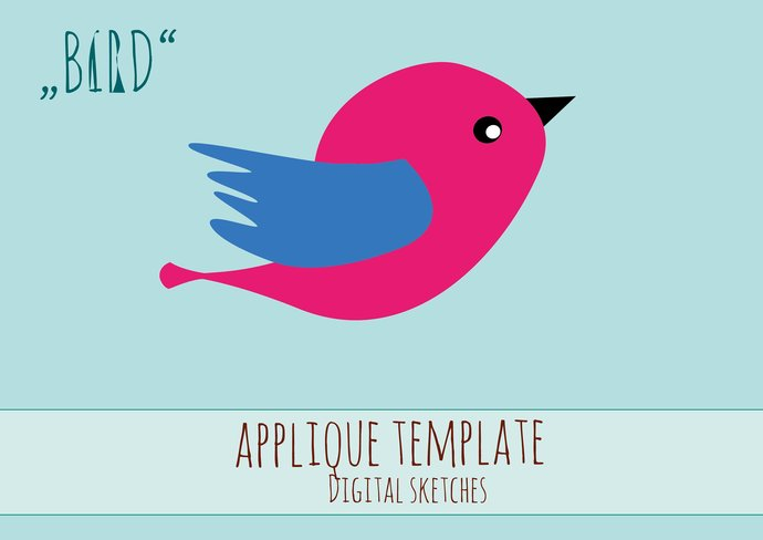 bird applique template pdf animals by digital sketches on zibbet
