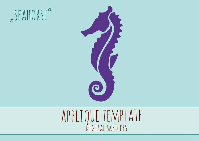 seahorse applique template pdf sea horse by digital sketches on