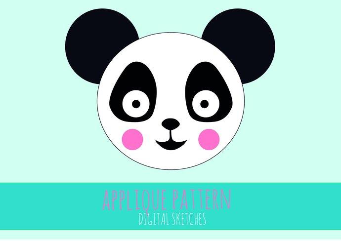 Panda Bear Head Applique Template .PDF Animals Fabric Applique Template DIY