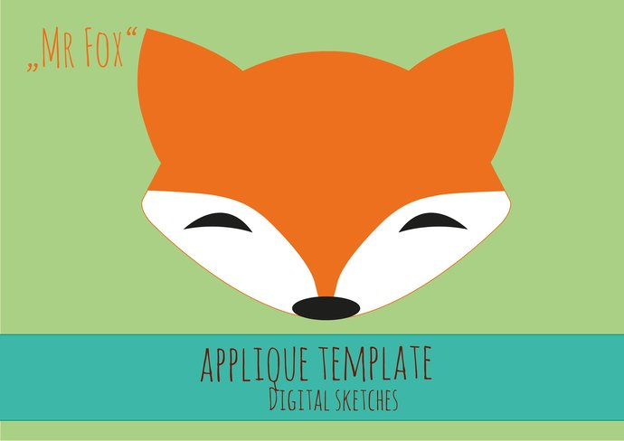 Fox Head Applique Template .PDF Animals Fabric Applique Template DIY Tutorial