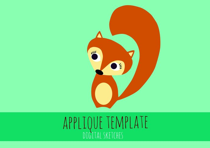 fox applique template pdf animals fabric by digital sketches on