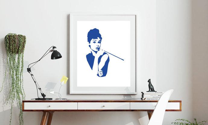 Audrey Hepburn Portrait Printable Art, Wall Art, .PDF, Typography, Home Decor,