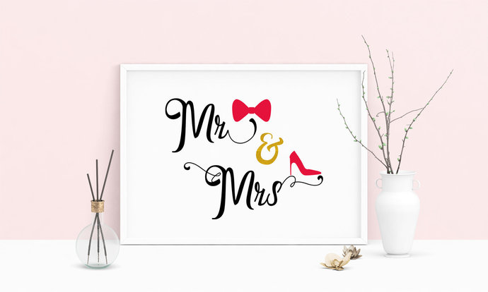 Saying Mr and Mrs Wedding Printable Art, Wall Art, .PDF, Typography, Home Decor,