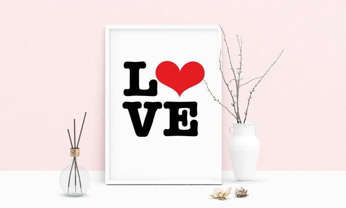 Saying Love Heart Printable Art, Wall Art, .PDF, Typography, Home Decor, Print