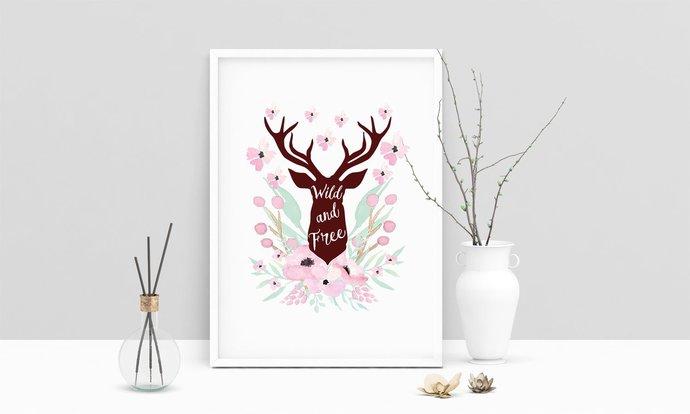 Saying Wild And Free Deer Head Printable Art, Wall Art, .PDF, Typography, Home