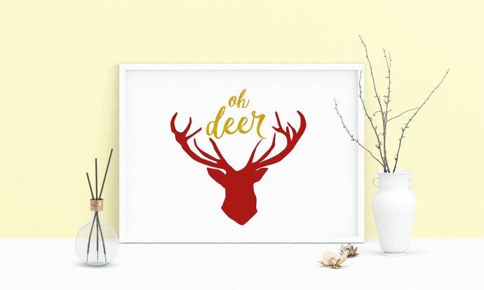 Saying Oh Deer Heart Printable Art, Wall Art, .PDF, Typography, Home Decor,
