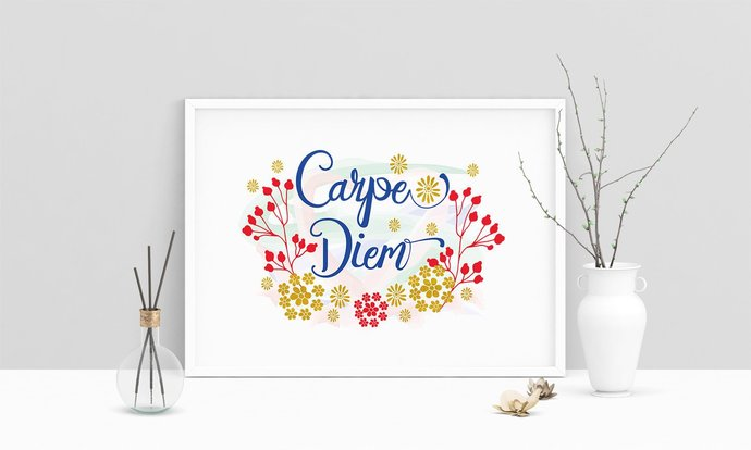 Saying Carpe Diem Printable Art, Wall Art, .PDF, Typography, Home Decor, Print