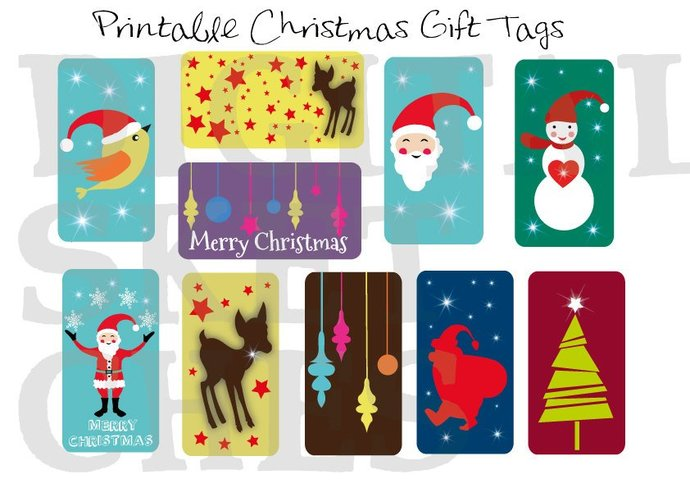Christmas Gift Tags Diy.Printable Christmas Gift Tags Diy Labels Packaging Holiday Santa Claus Merry Christmas Instant Download