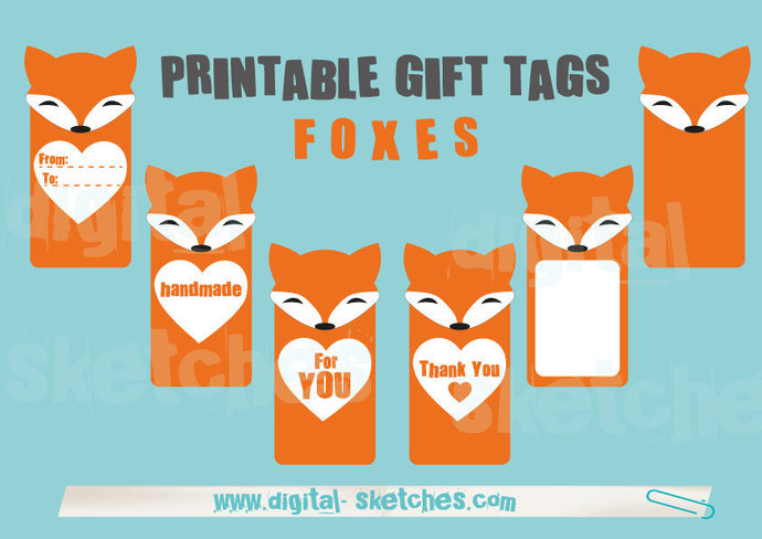 picture relating to Printable Hang Tags named Printable Present Tags .PDF Foxes Pets Foxes Fox Claiming For By yourself Packaging Labels Dangle Tags Immediate Obtain DIN A4