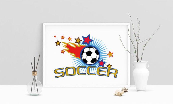 Fussball Ball Soccer Printable Art, Typografie, Poster .PDF, Druckbares Poster