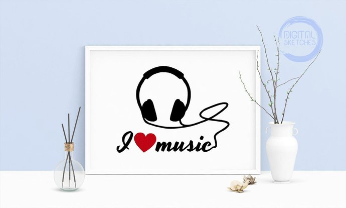 Machine Embroidery Design Saying I Love Music Headphones Heart Wall Art  Embroidery Art 4 Sizes INSTANT DOWNLOAD