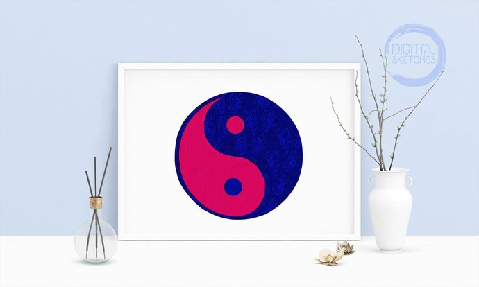 Machine Embroidery Design Yin Yang Wall by Digital Sketches on Zibbet
