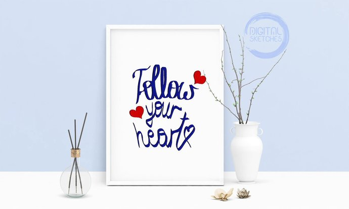 Machine Embroidery Design Saying follow Your Heart Art Wall Decor Embroidery Art