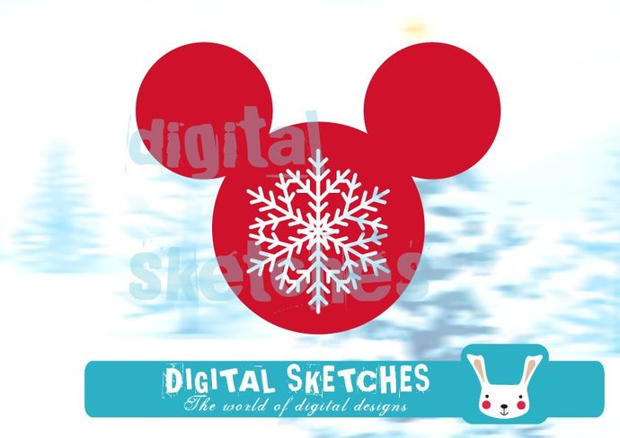 Cut File Mouse Style Snowflakes Vector Silhouette .SVG .DXF