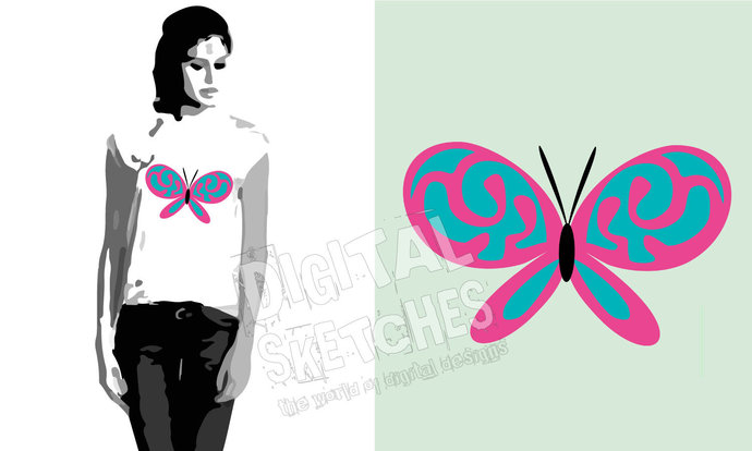 Cut File Butterfly Vector Silhouette .SVG .DXF
