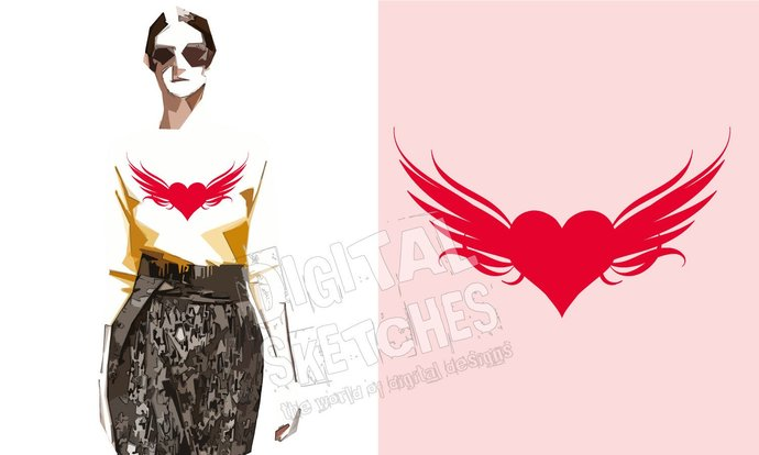Heart Wings Cut File Silhouette Vector .SVG .DXF