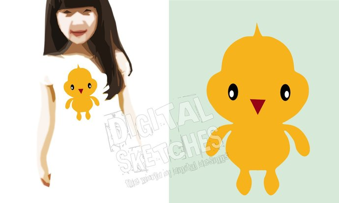 Chicken Chick Bird Cut File Vector Silhouette .SVG .DXF