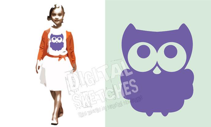 Owl Bird Cut File Vector Silhouette .SVG .DXF