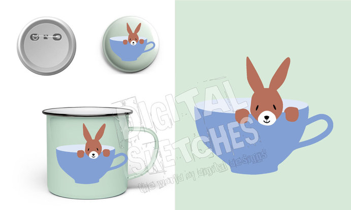 Bunny in a cup Cut File .SVG .DXF