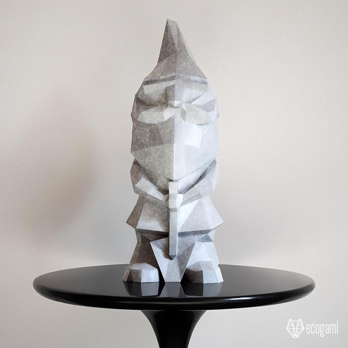 Make your own papercraft garden gnome | DIY 3D papercraft sculpture | Printable
