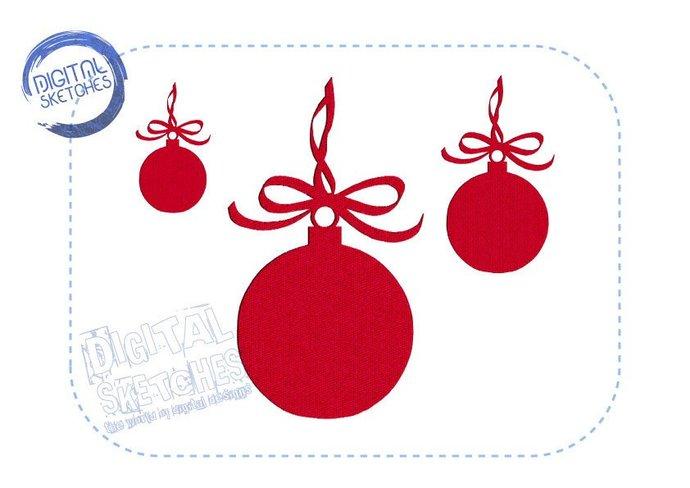 Christmas Bulb Machine Embroidery Design 3 Sizes