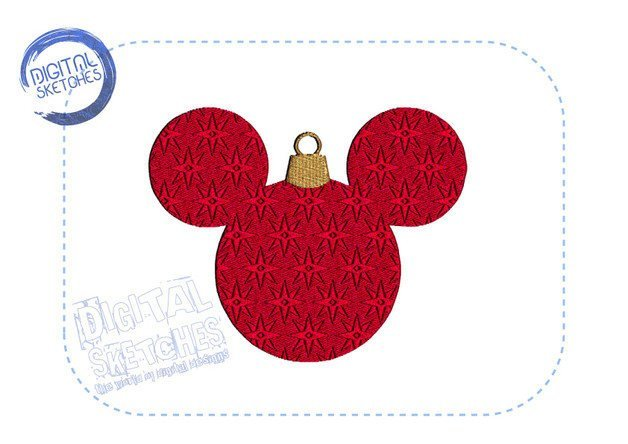 Mouse Machine Embroidery Design Christmas Bulb 3 Sizes