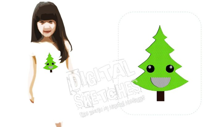 Fir Christmas Tree Machine Embroidery Design 3 Sizes