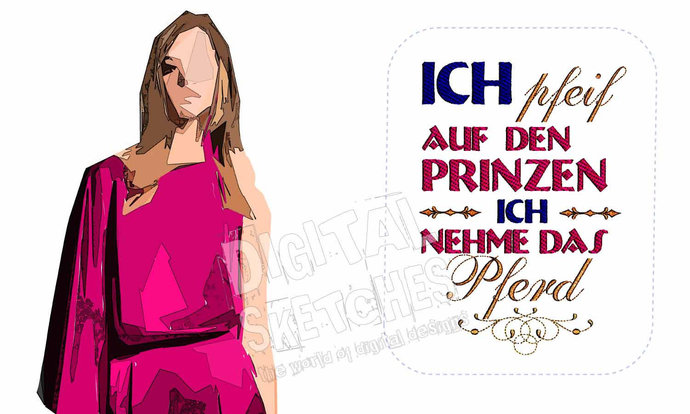 Princess Saying Prinzessin German Crown Machine Embroidery Design