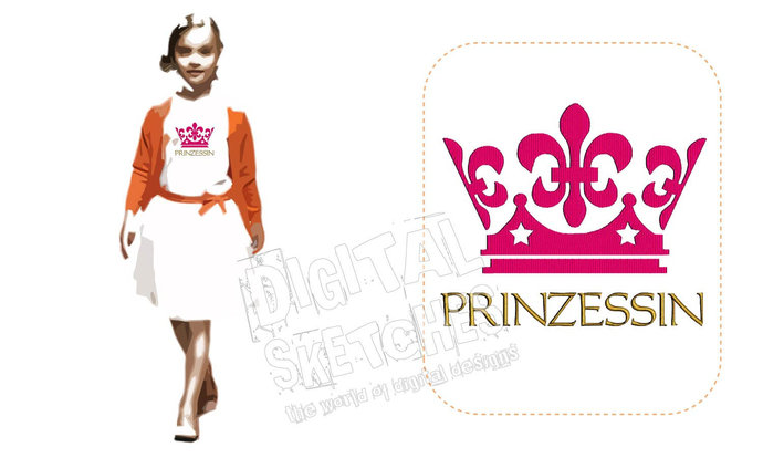 Princess Saying Prinzessin German Crown Machine Embroidery Design 3 Sizes