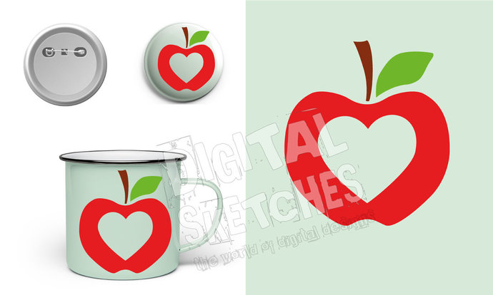 Apple Heart Love Cut File .SVG .DXF