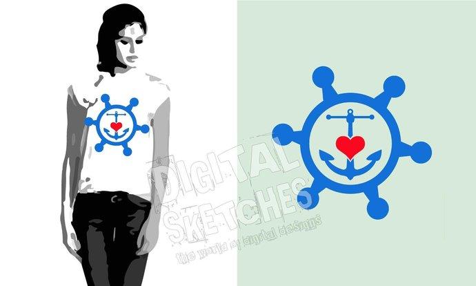 Anchor Wheel Love Heart Cut File .SVG .DXF