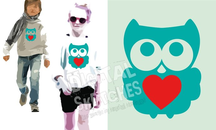Owl Heart Cut File Vector Silhouette .SVG .DXF