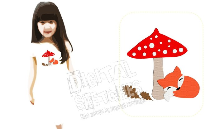 Fox Machine Embroidery Design Mushroom Toadstool 3 Sizes