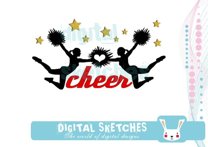 Cheer Cheerleder Sport Machine Embroidery Design 3 Sizes