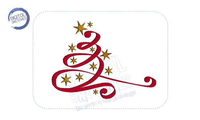 Christmas Tree Calligraphic Machine Embroidery Design 3 Sizes