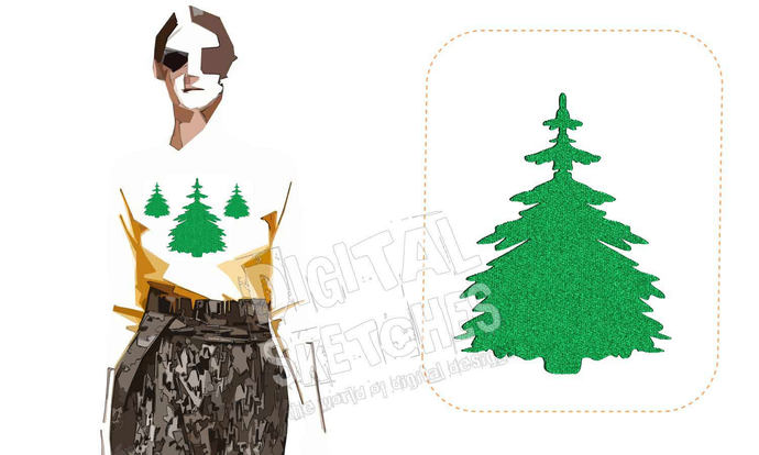 Tree Fir Pine Machine Design Embroidery 3 Sizes