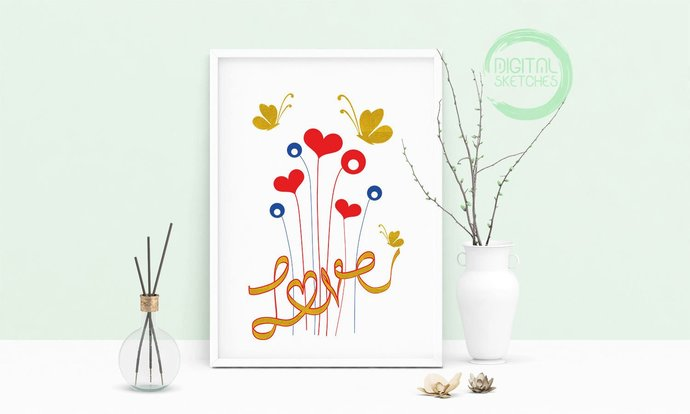Love Printable Art, Wall Art, .PDF, Typography, Home Decor, Print Art, Poster,