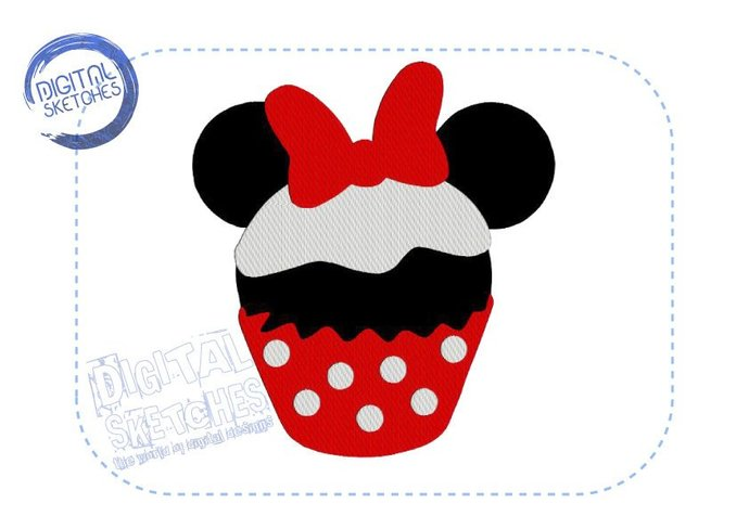 Machine Embroidery Design Cupcake Minnie Mouse Style 4 Sizes