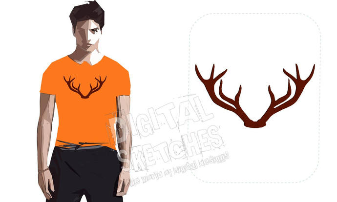 Deer Head Antlers Machine Embroidery Design 4 Sizes