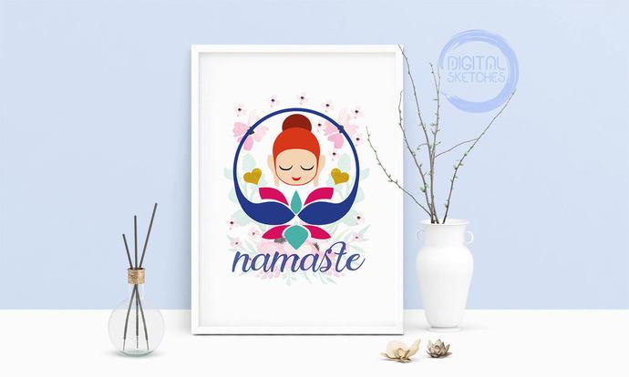 Saying Namaste Lotus Buddha Yoga Printable Art, Wall Art, .PDF, Typography, Home
