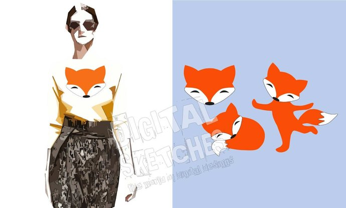 Fox Foxes Animals Set Cut File Vector Silhouette.SVG .DXF